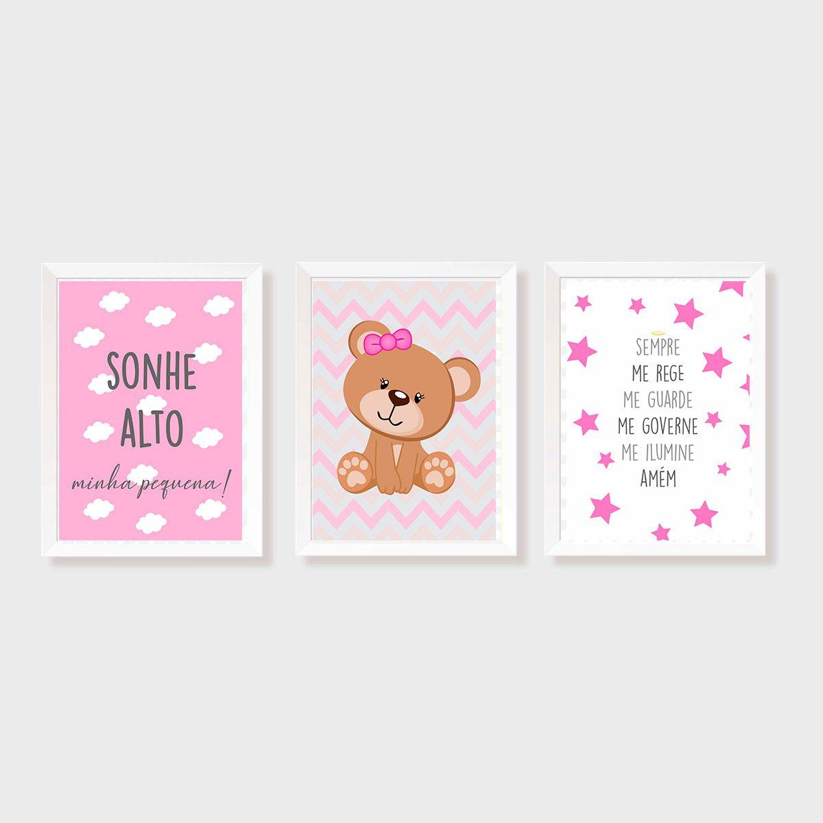 Kit Três Quadros Sonhe Alto, Balão, Urso e Santo Anjo Personalizado Rosa e Cinza