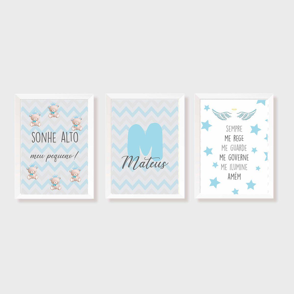 Kit Três Quadros Sonhe Alto, Urso, Nome, Estrelas e Santo Anjo Personalizado Azul e Cinza