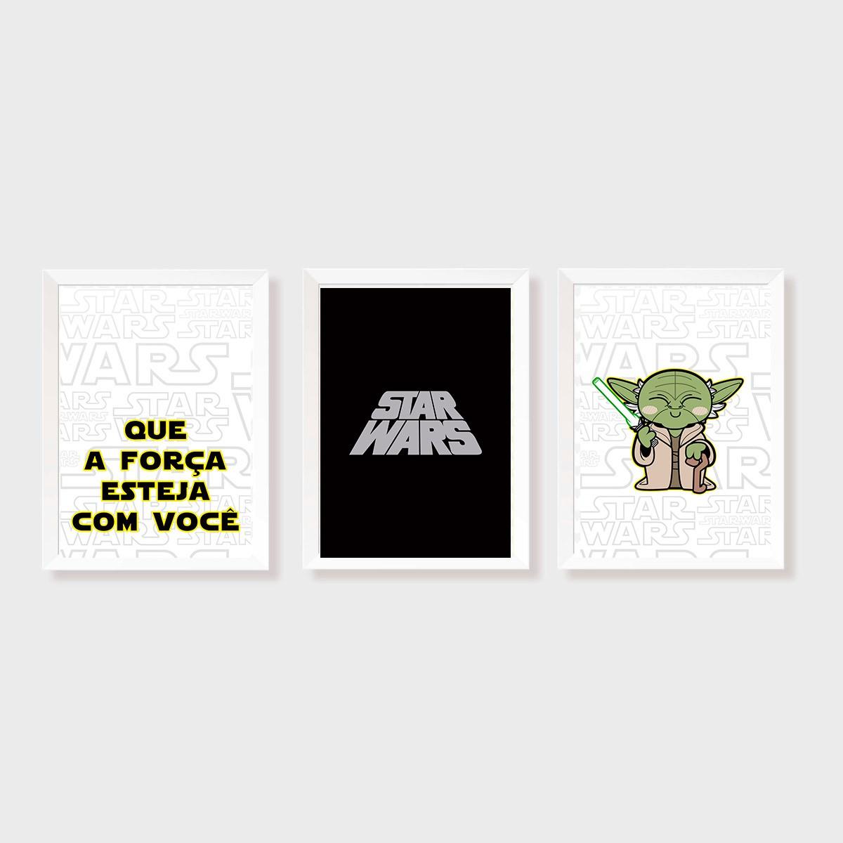 Kit Três Quadros Star Wars Yoda KID