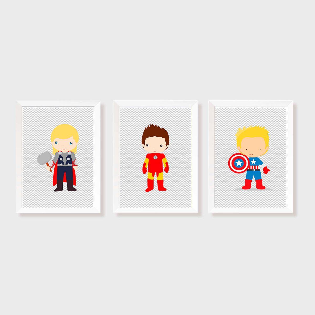 Kit Três Quadros Vingadores - Capitão América, Homem de Ferro e Thor