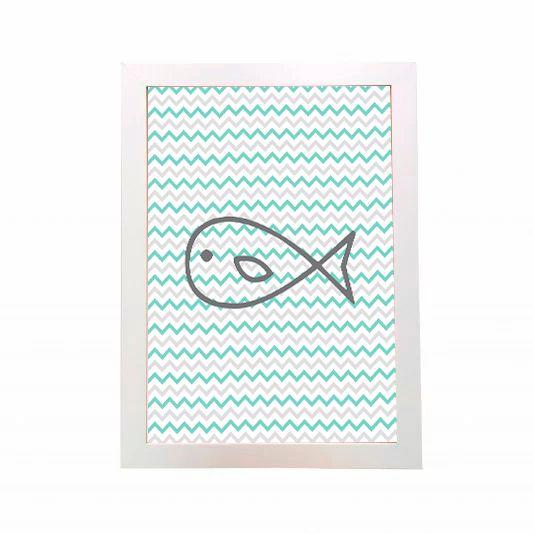 Quadro Peixe Listrado Verde Cinza Branco