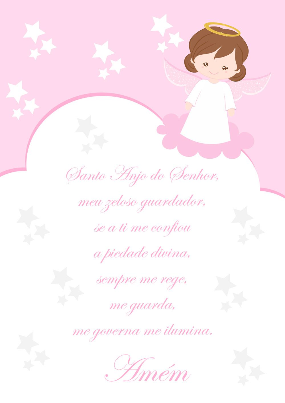 Quadro Santo Anjo Menina (Rosa)