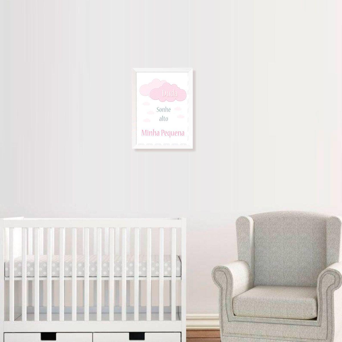 Quadro Sonhe Alto Minha Pequena (Rosa) Personalizado