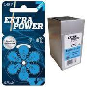 Caixa Pilhas para Aparelhos Auditivos EXTRA POWER n° 675 com 60 unidades.