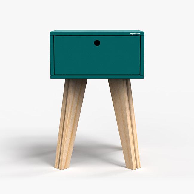 Mesa de Cabeceira Scandinavian - Azul petróleo  - Greenpallets