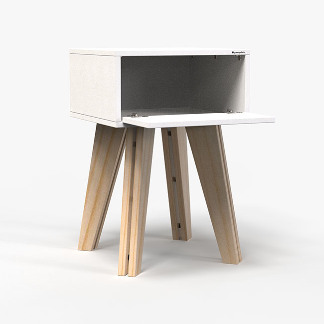 Mesa de Cabeceira Scandinavian - Branca  - Greenpallets