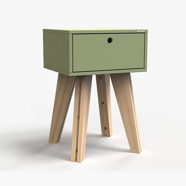 Mesa de Cabeceira Scandinavian - verde oliva  - Greenpallets