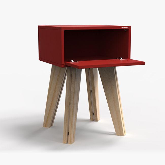 Mesa de Cabeceira Scandinavian - vermelho  - Greenpallets