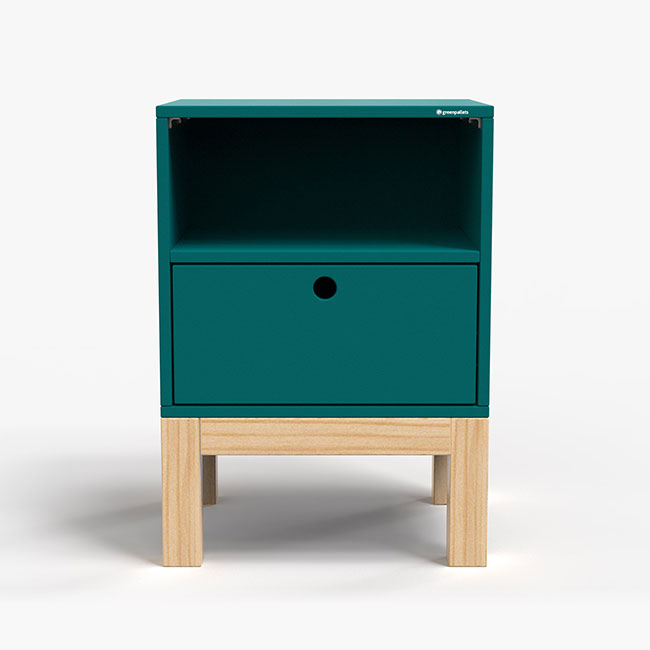 Mesa de Cabeceira Standard 1 Gaveta - Azul petróleo  - Greenpallets