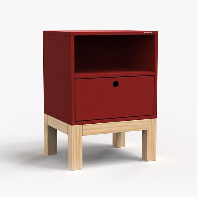 Mesa de Cabeceira Standard 1 Gaveta - Vermelho  - Greenpallets