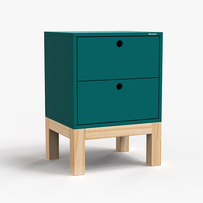 Mesa de Cabeceira Standard 2 Gaveta - Azul petróleo  - Greenpallets