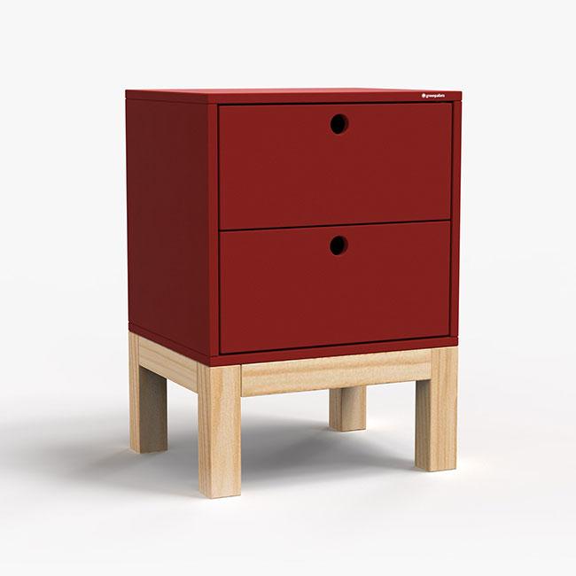 Mesa de Cabeceira Standard 2 Gaveta - Vermelho  - Greenpallets