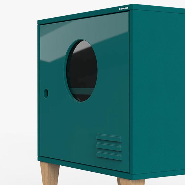 Mesa de cabeira Fire - azul petróleo  - Greenpallets