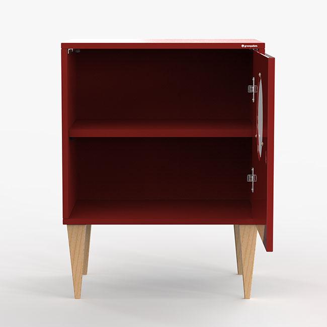 Mesa de cabeira Fire - vermelho  - Greenpallets