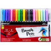 Kit Caneta pincel Brush Pen blender 19 cores e 1 blender Newpen
