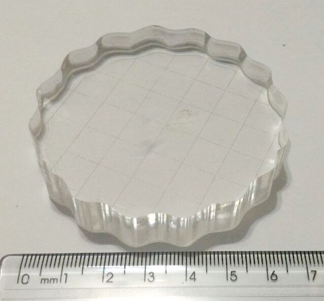 Base Acrílica Redonda c/ Grid 7 cm