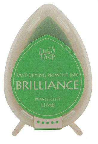Brilliance Dew Drop Pigment Ink Pad - Pearlescent Lime