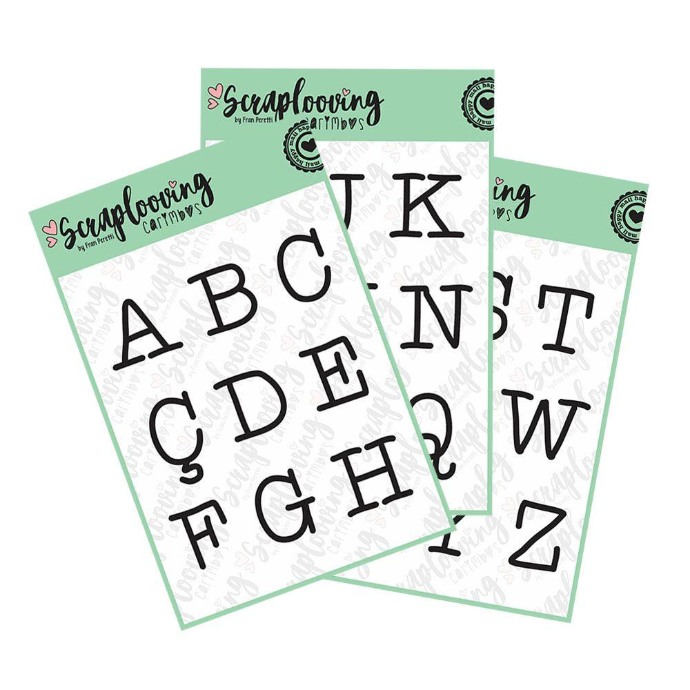 Cartelas Alfabeto Grande - Máquina de Escrever - Maiúscula