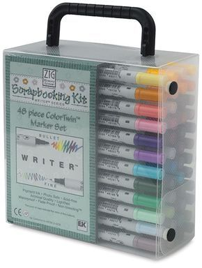 [DESAPEGO - USADO - RARIDADE] Scrapbooking Kit ZIG Writer 48 cores, 2 pontas (Bullet & Fine)