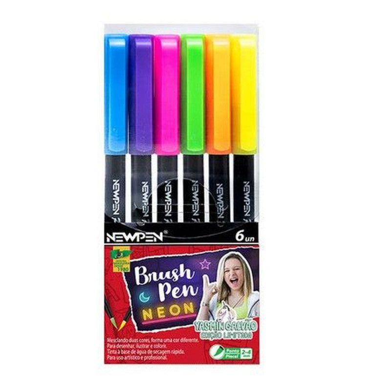 Kit Caneta pincel Brush Pen tons neon 6 cores Newpen