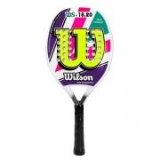 Raquete de Beach Tennis Wilson WS 18.20 - Branca, Roxa e Verde