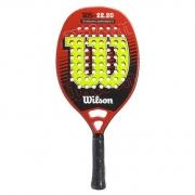 Raquete de Beach Tennis Wilson WS 22.20 - Vermelha, preta e limão
