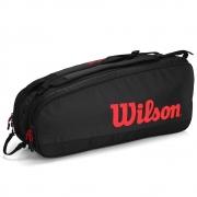 Raqueteira Wilson ESP Tour X6 Preta e Vermelha