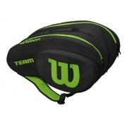 Raqueteira Wilson Team para Padel e Beach Tennis Preta e Verde