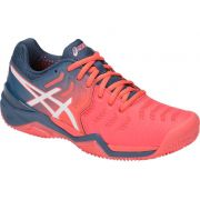 Tênis Asics Gel Resolution 7 - Feminino - Azul e Papaia - Clay
