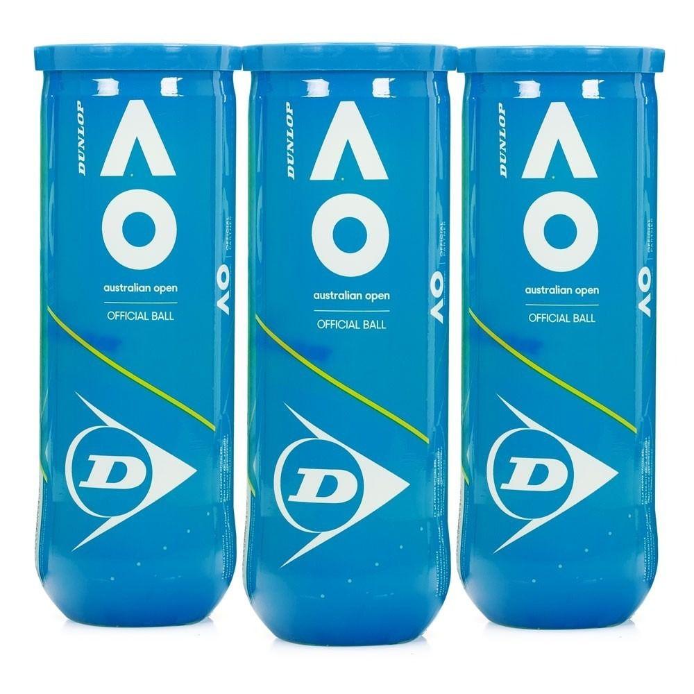 Bola de Tênis Dunlop Australian Open - Pack com 03 Tubos  - PROTENISTA