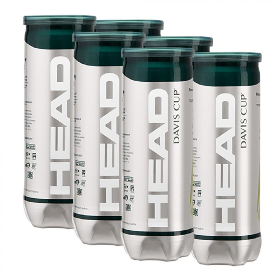 Bola de Tênis Head Davis Cup Pack com 6 Tubos
