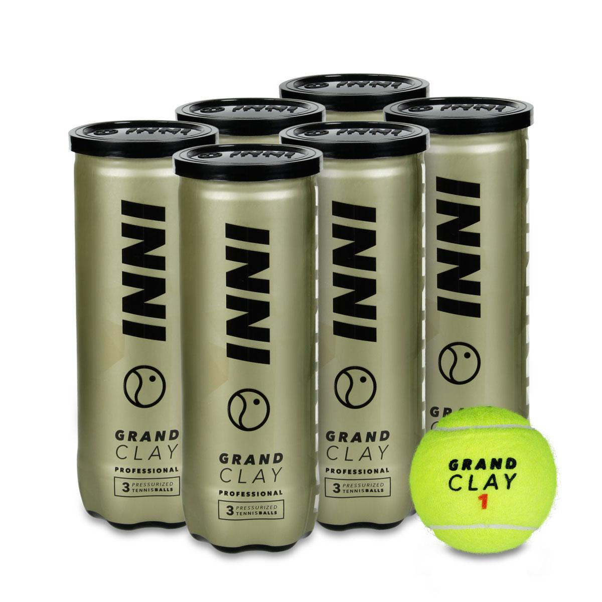 Bola de Tênis Inni Grand Clay - Pack com 06 Tubos  - PROTENISTA