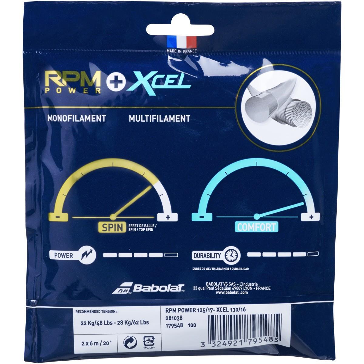Corda Babolat Rpm Power 17L 1.25mm + Xcel 16L 1.30mm Colorida  - PROTENISTA