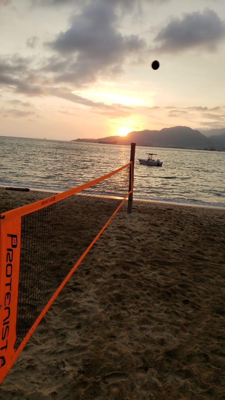 Kit de Beach Tennis ProTenista - Rede Torneio  e Faixa de Marcação Bicolor
