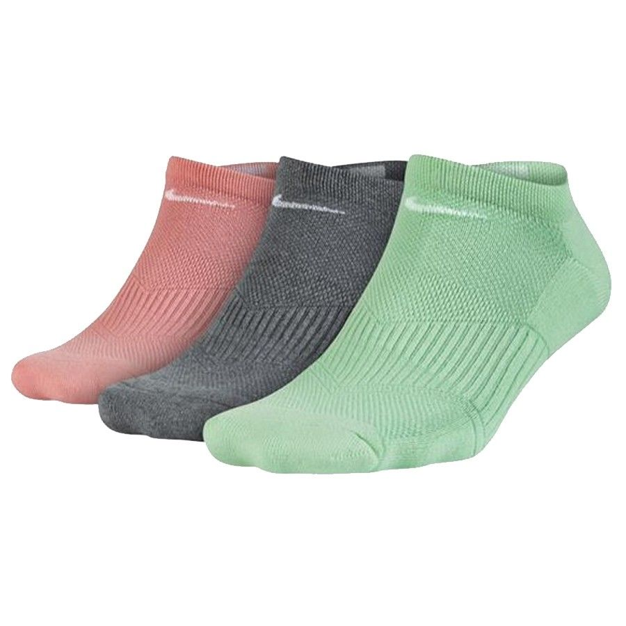 Meia Nike Feminina - Cotton Cushion - Verde/Cinza/Rosa- Embalagem com 3 unidades -