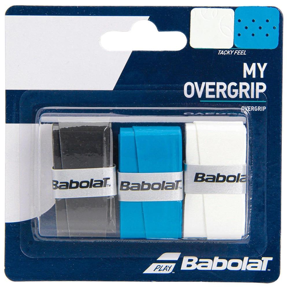 Overgrip Babolat My X3 Preto Branco E Azul  - PROTENISTA