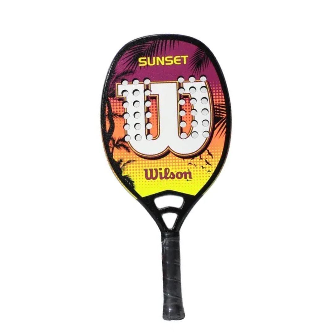 Raquete de Beach Tennis Wilson Sunset - Amarela, Roxa e Branca  - PROTENISTA