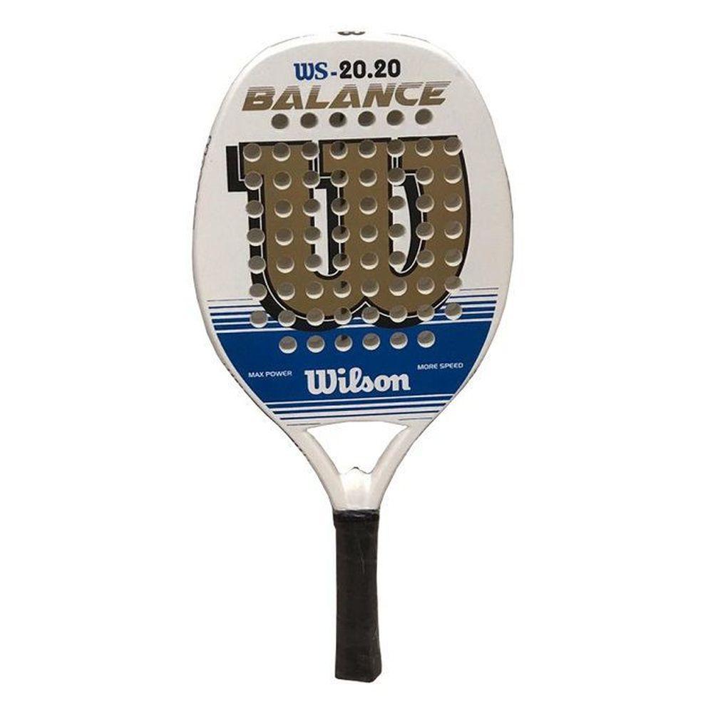 Raquete de Beach Tennis Wilson WS 20.20 Branca, Azul e Dourada