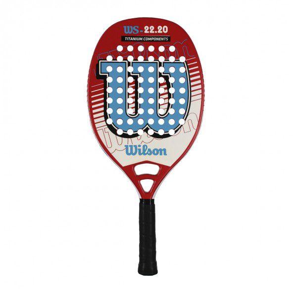 Raquete de Beach Tennis Wilson WS 22.20 Branca, Azul e Laranja