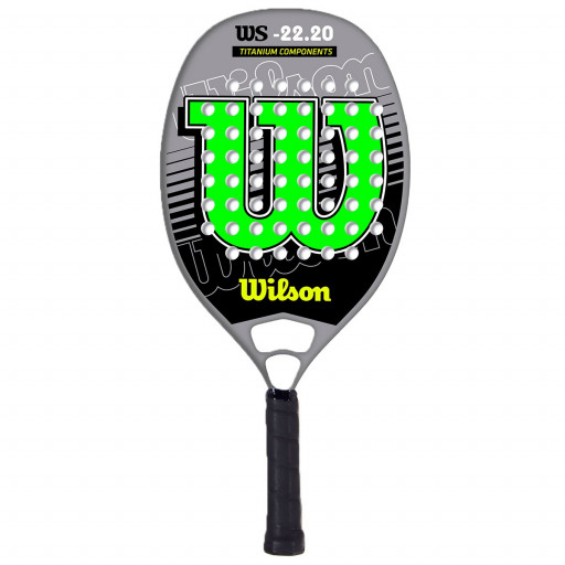 Raquete de Beach Tennis Wilson WS 22.20 - Preta e Verde  - PROTENISTA