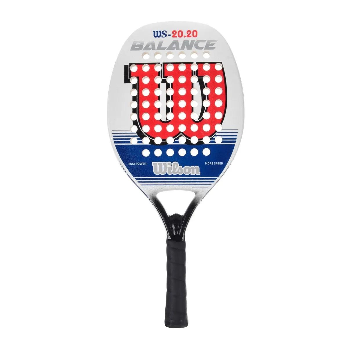 Raquete De Beach Tennis - Ws 20.20 - Branca, Vermelha e Azul  - PROTENISTA