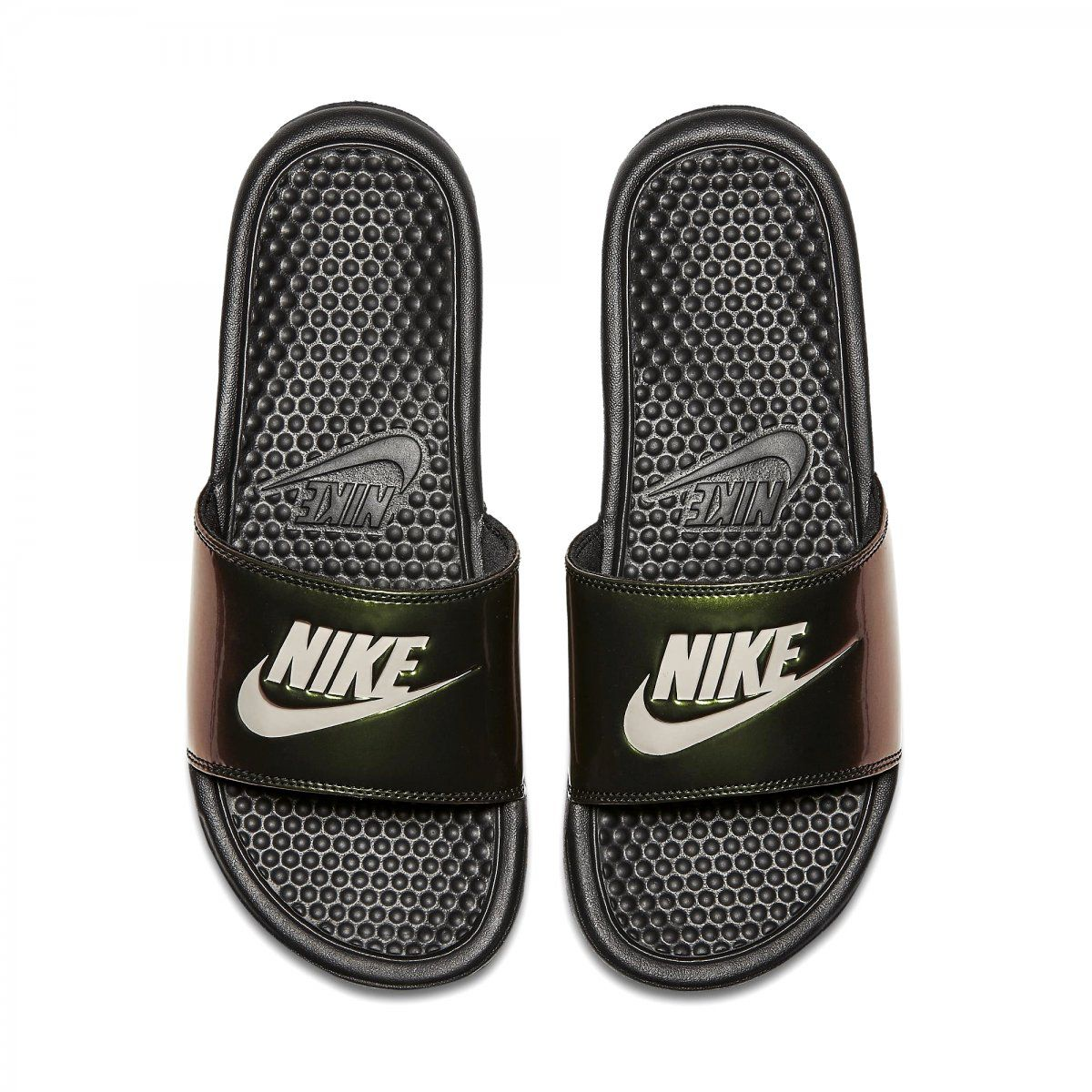 Sandalia Nike Benassi Preto e Verde  - PROTENISTA