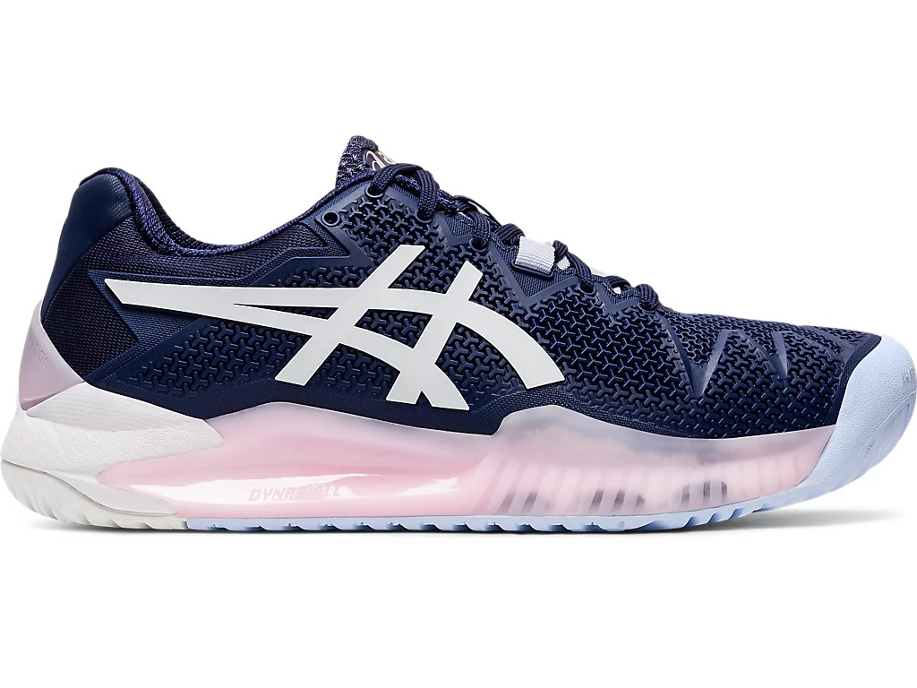 Tênis Asics Gel Resolution 8 All Court Marinho Branco e Rosa  - PROTENISTA