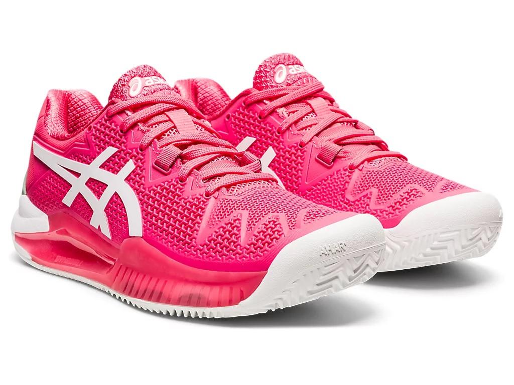 Tênis Asics Gel Resolution 8 - Feminino - Clay - Pink/Branco  - PROTENISTA
