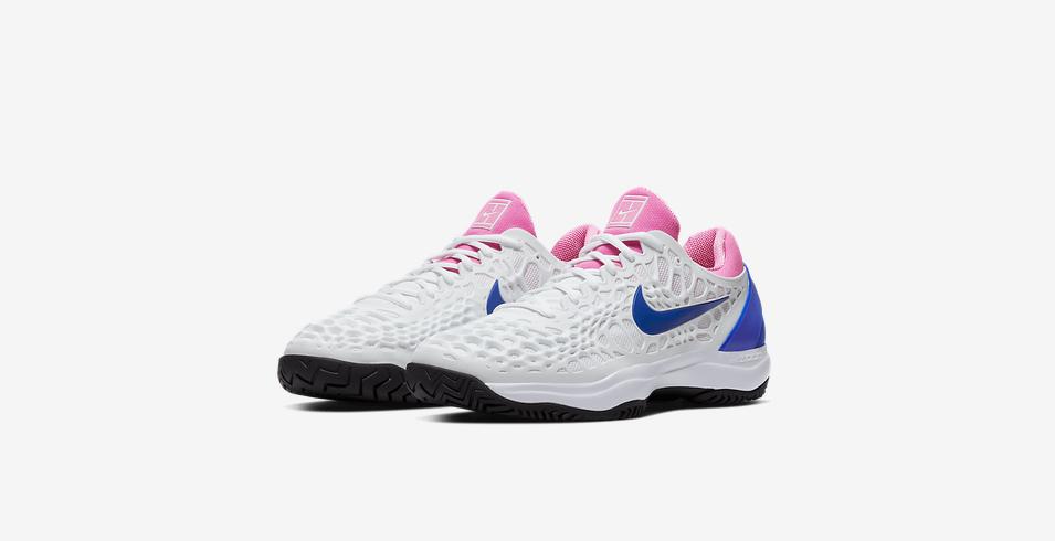 Tênis Nike Air Zoom Cage 3 HC  Rafael Nadal - Branco Azul Rosa