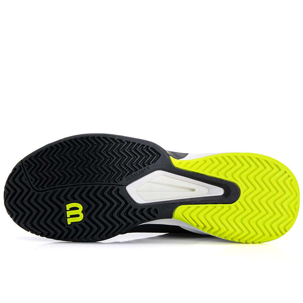 Tênis Wilson Rush Pro 2.5 Preto Branco e Limão  - PROTENISTA