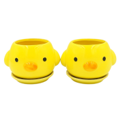 Cachepo de ceramica - 2 pintinhos