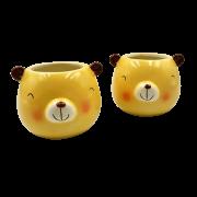 Cachepo de ceramica - 2 ursos pardo