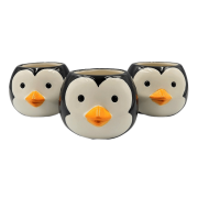 Cachepo de ceramica - 3 pinguins