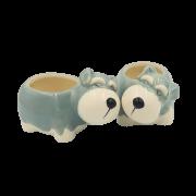 Cachepo de ceramica - caozinho schnauzer - kit 2 unid